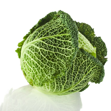 savoy cabbage: Savoy Cabbage head Isolated on White Background Stock Photo