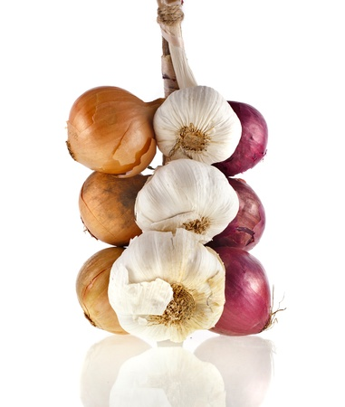 garlic clove: hanging bunch bundle of onion and garlic clove isolated on white background