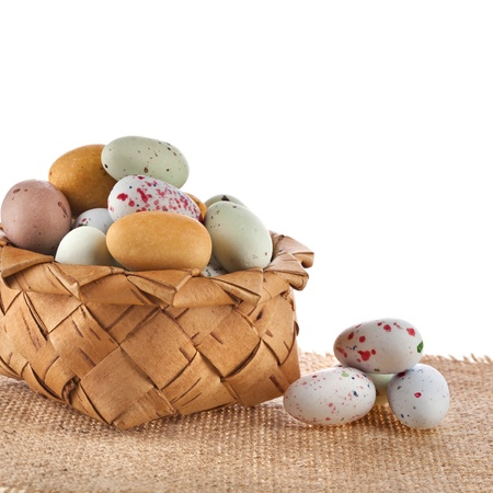 Basket with spotted egg , easter card on a white background Stock Photo - 18562910