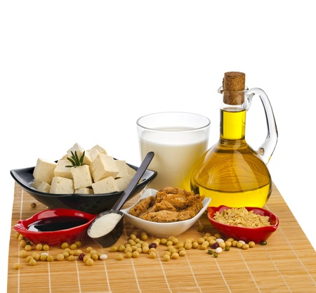 Soy products : oil, milk, tofu, meat, sauce, isolated on white photo
