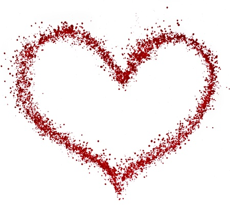 colorful symbol valentine day - Sprayed heart for text isolated on white Stock Photo - 18730839