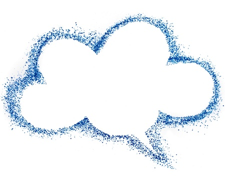 disperse: blank blue cloud speech bubble , drawing air color pen isolated on white background Stock Photo