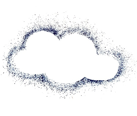 Blank Blue Cloud speech bubble , drawing air color pen isolated on white background Stock Photo - 18730851