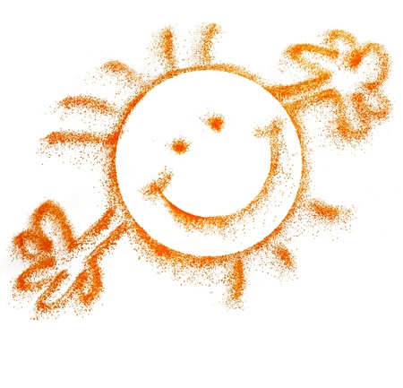 cheerful sun smile isolated on white Stock Photo - 18730909