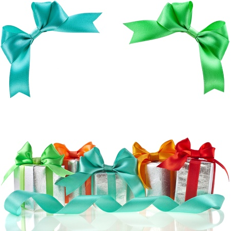 dec: colorful gift boxes with bows isolated on white background