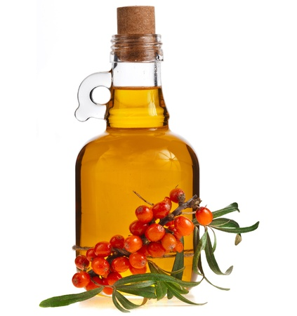 buckthorn: sea-buckthorn berries cluster and oil bottle jar isolated on a white background