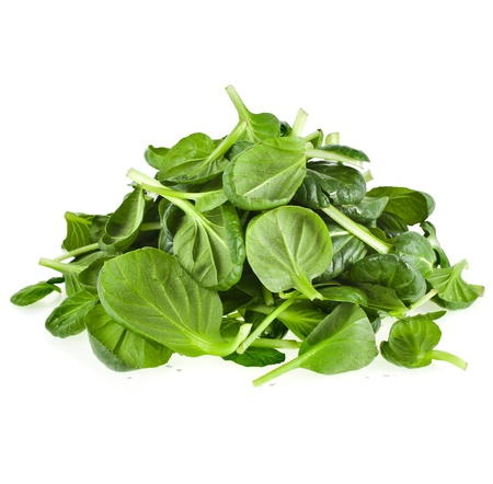 spinach salad: fresh green leaves spinach or pak choi isolated on a white background