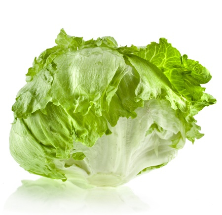 dietary fiber: fresh iceberg lettuce salad isolated on white