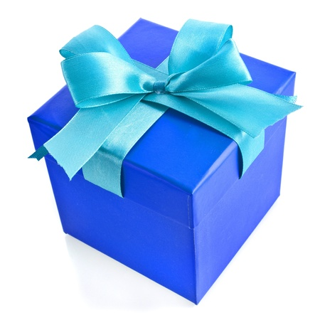 single gift wrapped present box with blue -aqua satin bow isolated on white photo