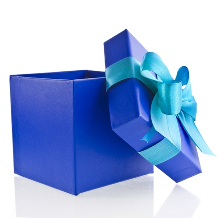 wrapped present: single gift wrapped present box with blue -aqua satin bow isolated on white