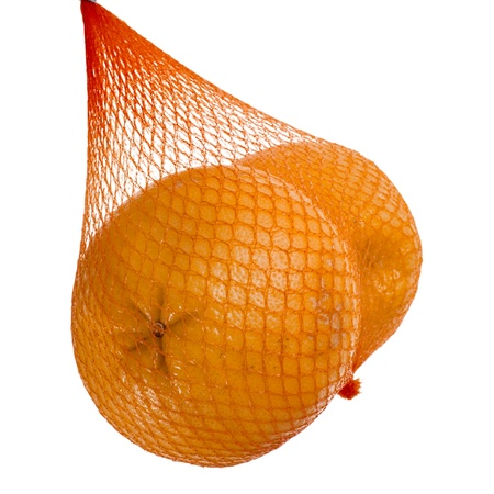 yellow grapefruits hanging in the mesh bag isolated on white background Stock Photo - 18870412
