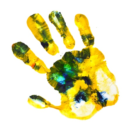 Multicolored hand print isolated on a white background Stock Photo - 18932123