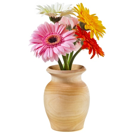Beautiful bunch bouquet flowers gerbera in a wooden vase on a white background Stock Photo - 18932114