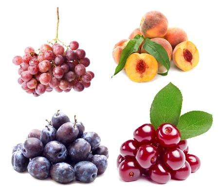 Collection set of ripe fruit isolated on white background Stock Photo