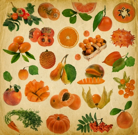 fresh orange fruit and berries on old paper decoration background photo