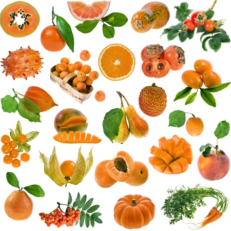 Collection set of all orange color   berries, fruits and vegetables close up isolated on white background photo