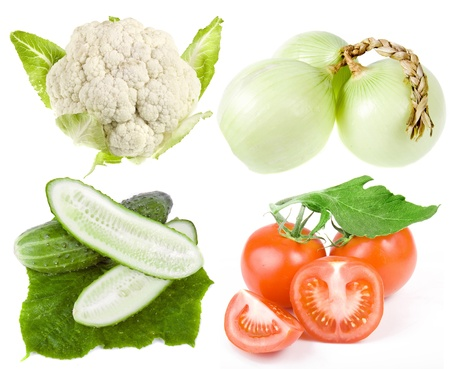 head of cauliflower: Collection set of vegetables isolated on white background