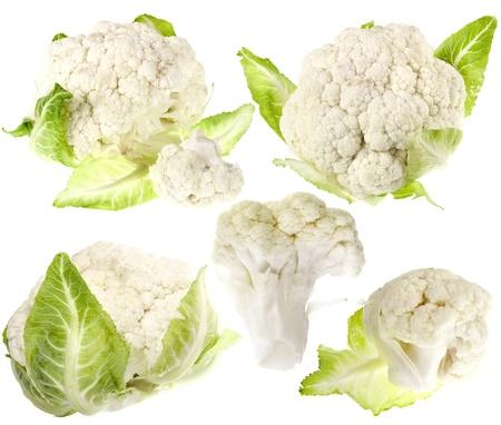 head of cauliflower: collection set of  fresh cauliflower, cabbage  Stock Photo