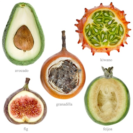 grenadilla: Collection Set of half fresh exotic fruits with names   kiwano , avocado, feijoa, granadilla, fig   isolated on white background