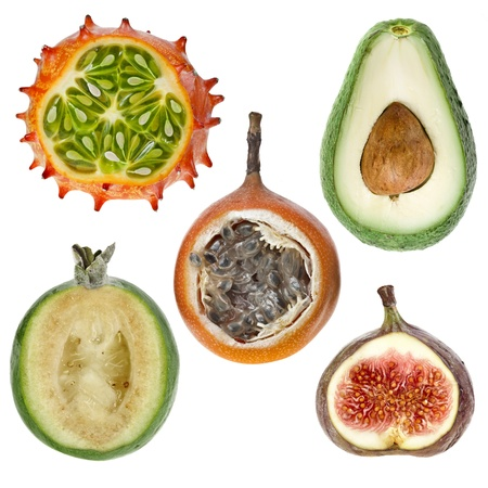 grenadilla: collection exotic fresh fruits   kiwano ,avocado,feijoa, granadilla, fig   isolated on white background