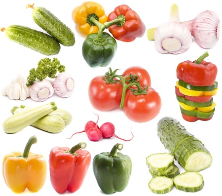 Collection set vegetables on white background  photo
