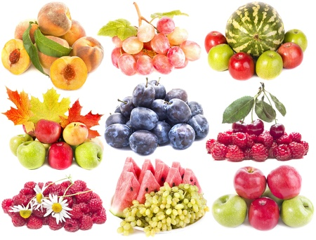 Collection set of heap ripe fruits, vegetables, berries,isolated on white background  photo