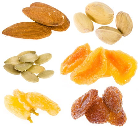 apricot kernel: nuts and dried fruits collection isolated on white