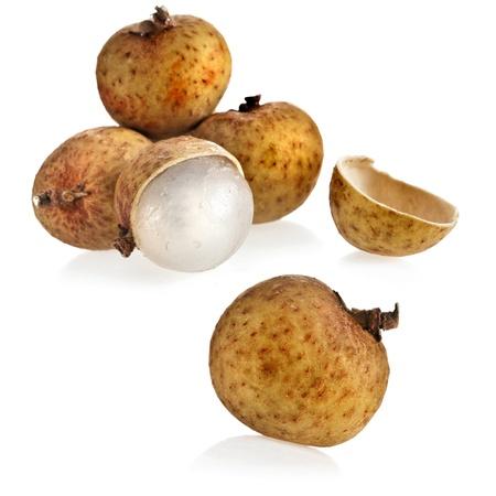 longan: longan fruit isolated on a white background Stock Photo