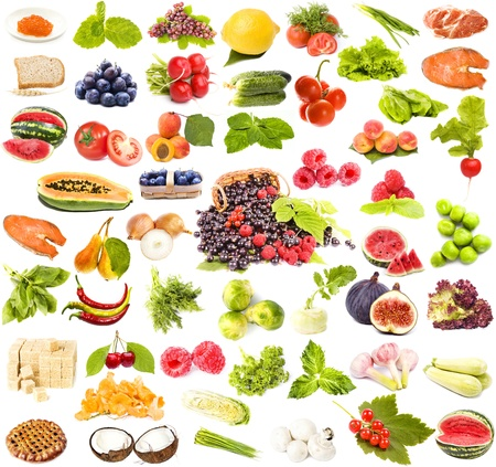 large collection set of tasty healthy food isolated on white background  photo