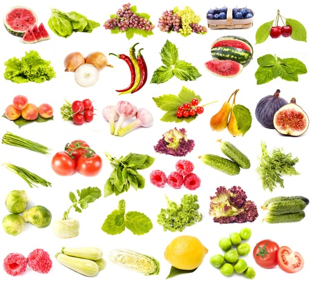 sorrel: collection set of fresh juicy fruits ,vegetables and berries isolated on white background