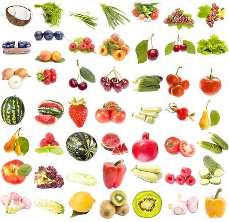 Collection set of fruits and vegetables isolated on white background  photo