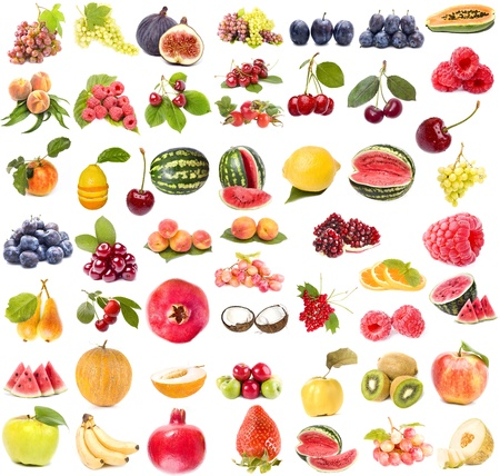 Collection set of of fruits and vegetables isolated on white background  photo
