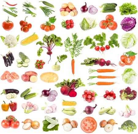 A large collection of fresh vegetables isolated on a white background  photo