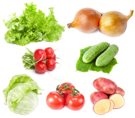Vegetables Collection Set close up isolated on white background  photo