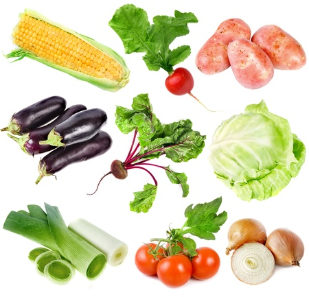 Collection set of ripe vegetables isolated on white background  photo