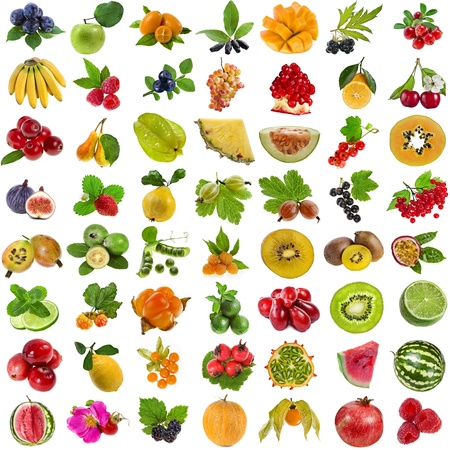 collection set of fresh juicy fruits and berries isolated on white background  photo