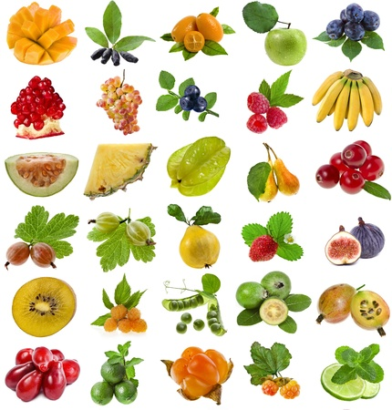 collection set of fresh ripe fruits and berries isolated on white background  photo