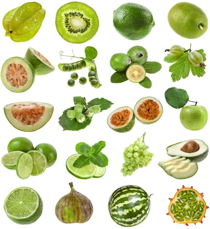 Collection Set of green color fresh fruits and berries close up isolated on white background  photo