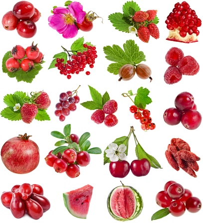 currants: Collection set of Red color berries isolated on white background