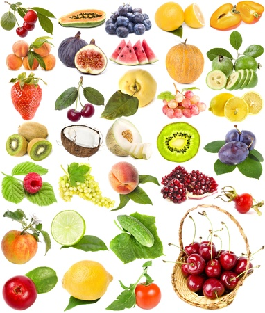 large collection set of fruit, berries vegetables , isolated on a white background  photo