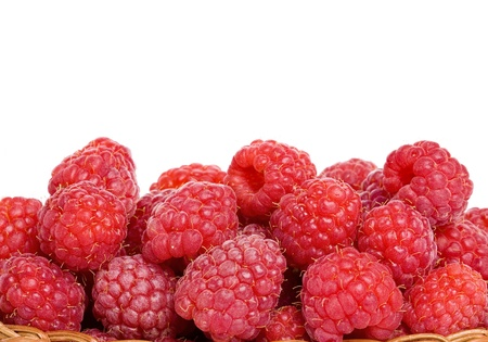 Fresh red berries raspberry isolated on white background photo