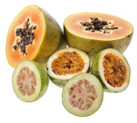 papaw: papaya half fruit , maracuya, guava isolated on white background Stock Photo