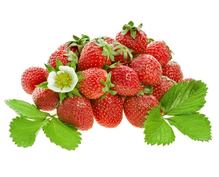 fresh strawberry fruits with flowers and green leaves isolated on white background photo