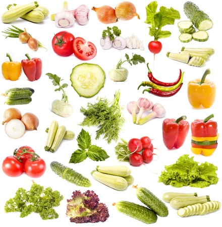Vegetables collection set isolated on white background photo