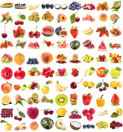 large collection of fresh ripe fruits and berries single objects isolated on white background Stock Photo