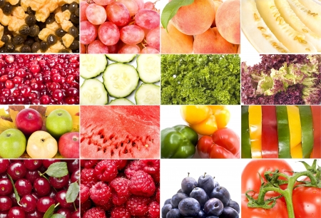 fruits, vegetables, berries, flowers collage on white background photo