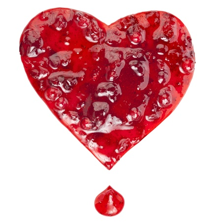 Cranberry Jam in the form of heart isolated on white background