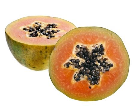 papaw: half papaya fruit isolated on white background