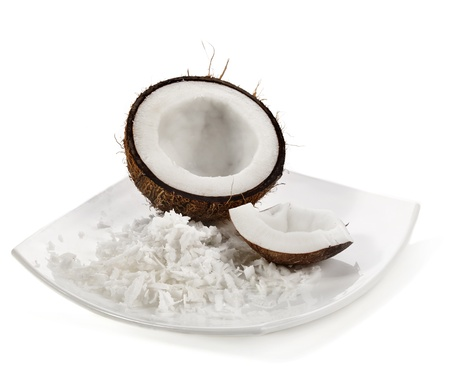 coconut milk: Fresh coconut on white isolated background