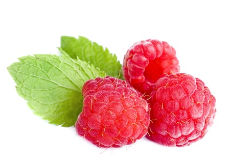 rasp: Raspberry with green leaves close up isolated on white background